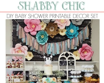 Shabby Chic Baby Shower | Shabby Chic Party Printable | Baby Shower Decorations | Shabby Chic Decorations | Epic Parties by REVO