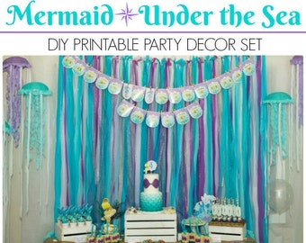 Mermaid Party Printable | Under the Sea Party Mermaid Birthday | Under the Sea Printable | Decorations | Epic Parties by REVO