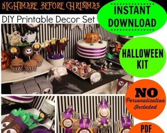 sale nightmare before christmas halloween kit instant download halloween party printable halloween printable epic parties by revo