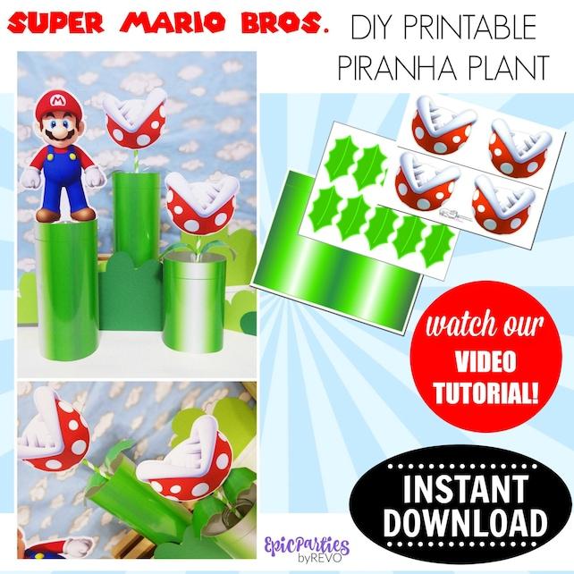 Super Mario Bros Printable Piranha Plant INSTANT DOWNLOAD