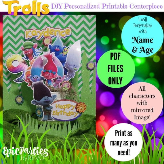 graphic relating to Printable Trolls called Trolls Printable Centerpiece Trolls Birthday Trolls