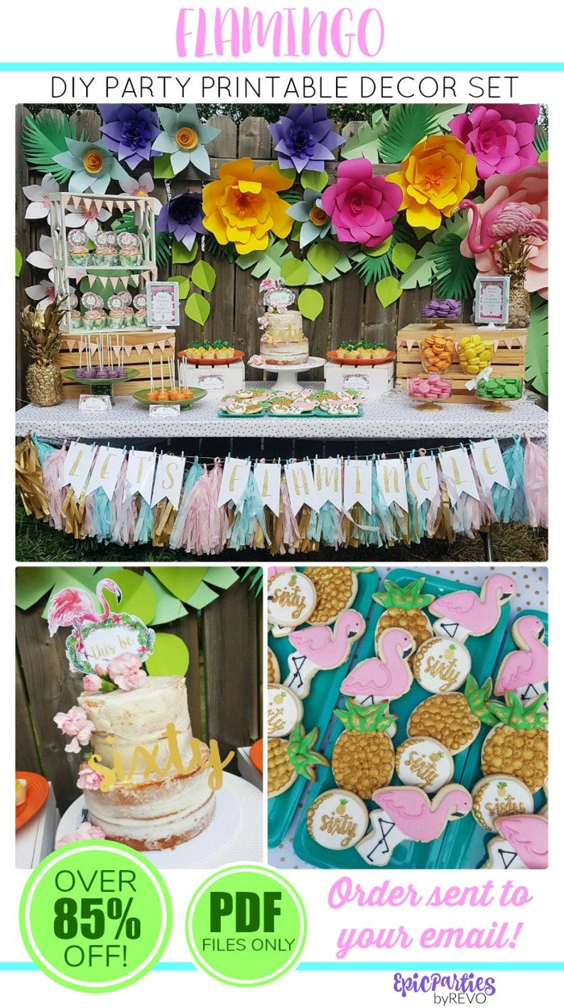 Flamingo Party Printable Birthday Decorations
