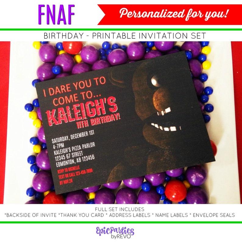 FNAF Invitation Five Nights At Freddys Birthday Fnaf