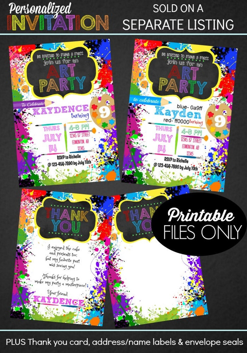 Art Party Art Birthday Decorations Art Birthday Party Artist Party Art Party Printables INSTANT DOWNLOAD Epic Parties by REVO