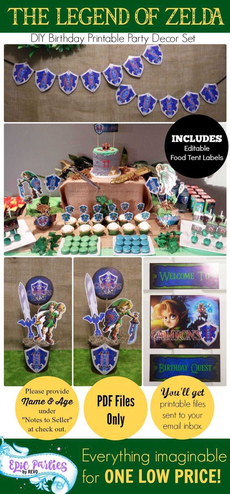Zelda Birthday Party Printable Legend Of