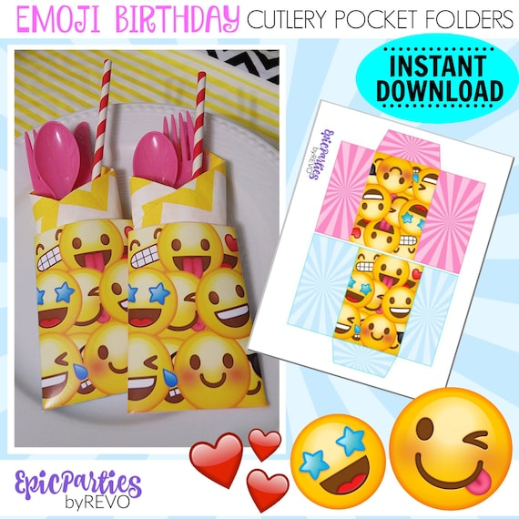 photo regarding Printable Folders called Emoji Birthday Printable Emoji Cutlery Pocket Folders