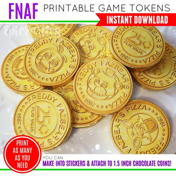 photograph regarding Printable Tokens named FNAF Video game Tokens 5 Evenings At Freddys Birthday Fnaf