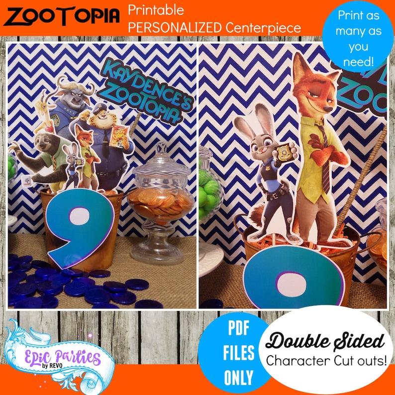Zootopia Printable Centerpiece Birthday
