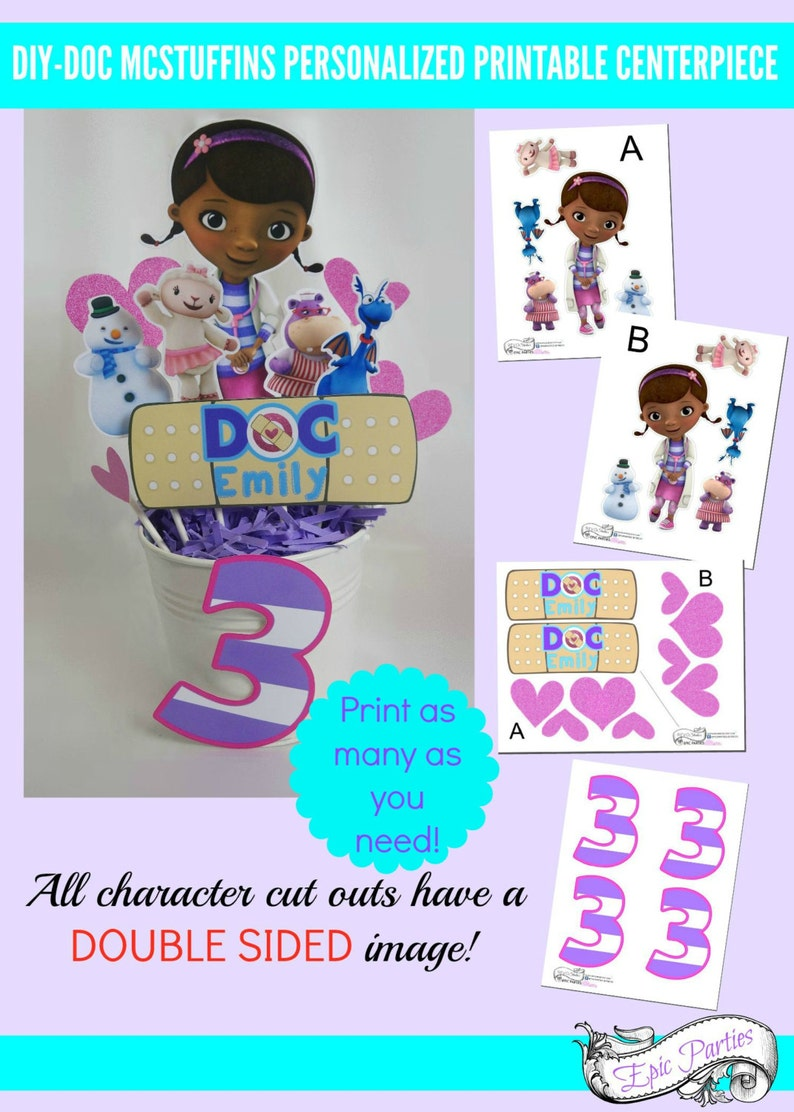 graphic relating to Printable Doc Mcstuffins identified as Document Mcstuffins Printable Centerpiece Document Mcstuffins Birthday Decorations  Document Mcstuffins Get together Epic Events through REVO
