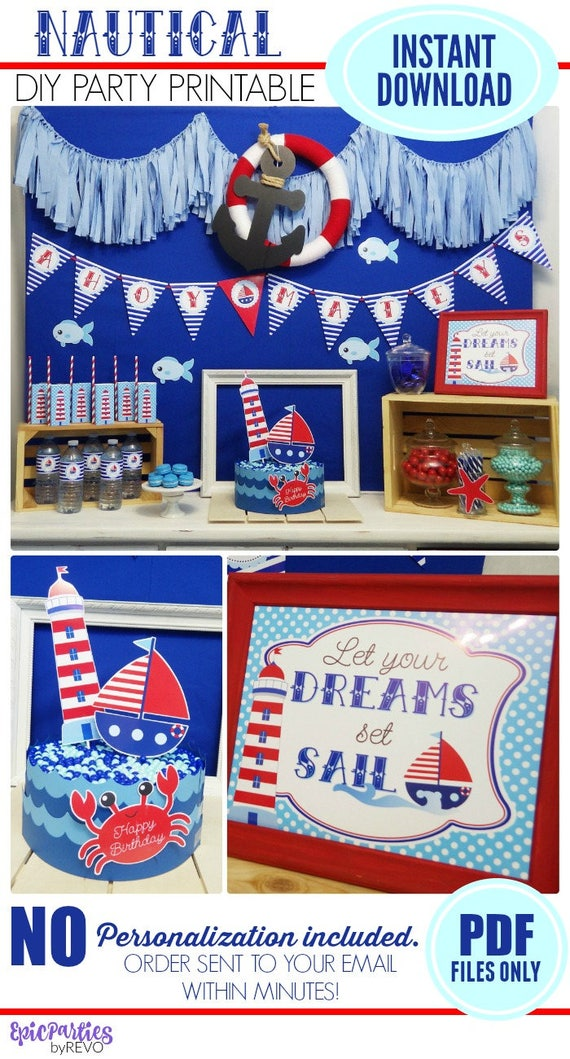 nautical bar decor.htm nautical party printable instant download nautical etsy  nautical party printable instant