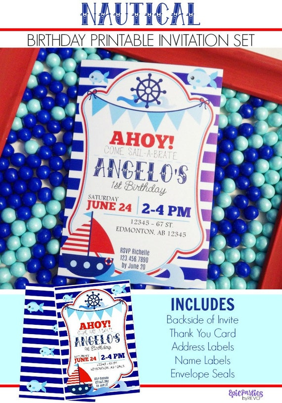 Nautical Birthday Invitation Printable