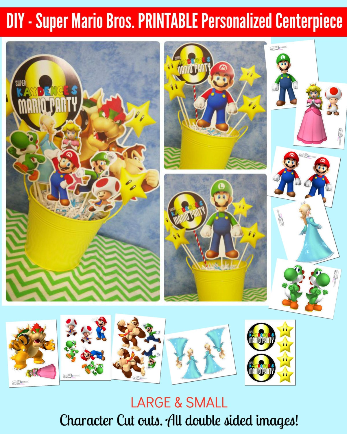 Super Mario Bros Printable Centerpiece Birthday