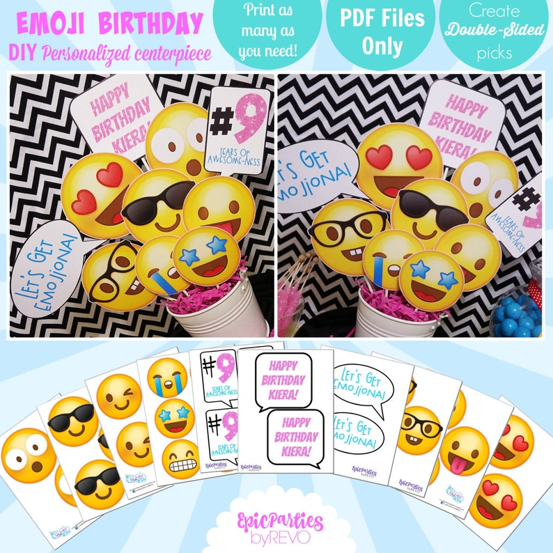 Emoji Birthday Printable Centerpiece