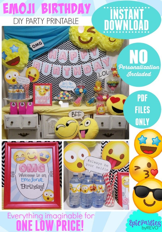 Emoji Birthday Party Printable Instant Download