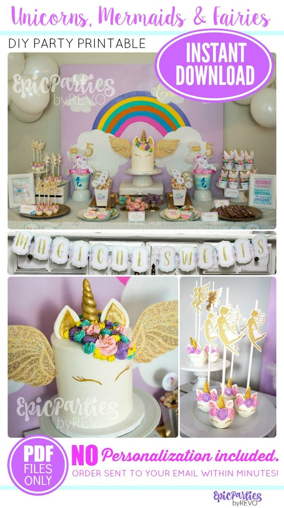 Unicorn Birthday Party Instant Download