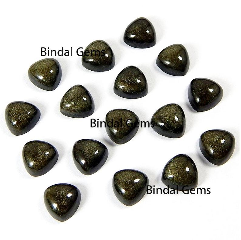 10 Pcs Natural Gold Sheen Obsidian Trillion Shape Smooth Calibrated Cabochon Loose Gemstone