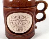 Vintage Collectible Aramis quot Pleasure quot Quote Shaving Mug Shaving Supplies Double-Barrel Trigger Handle Samuel Johnson The London Jug