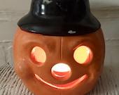Vintage Painted Pottery Halloween Pumpkin Luminary | Little Dumpling Jack-o-Lantern | Tea Light Votive Candle Holder Holiday Candle Decor