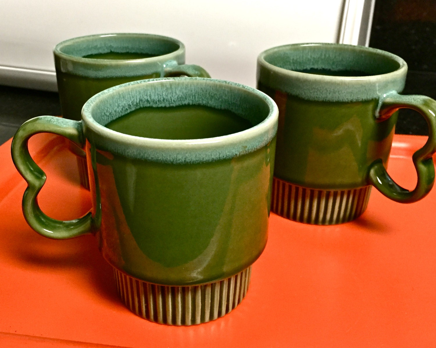Retro Stackable Coffee Mugs Blue To Green Fade Glaze Two Toned Etsy