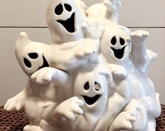 Vintage Retro Ceramic Ghost Sculpture Candle Holder   Halloween Decor   Ghost Luminary   Trick-or-Treat   Ghosts   Goblins   Home Decor
