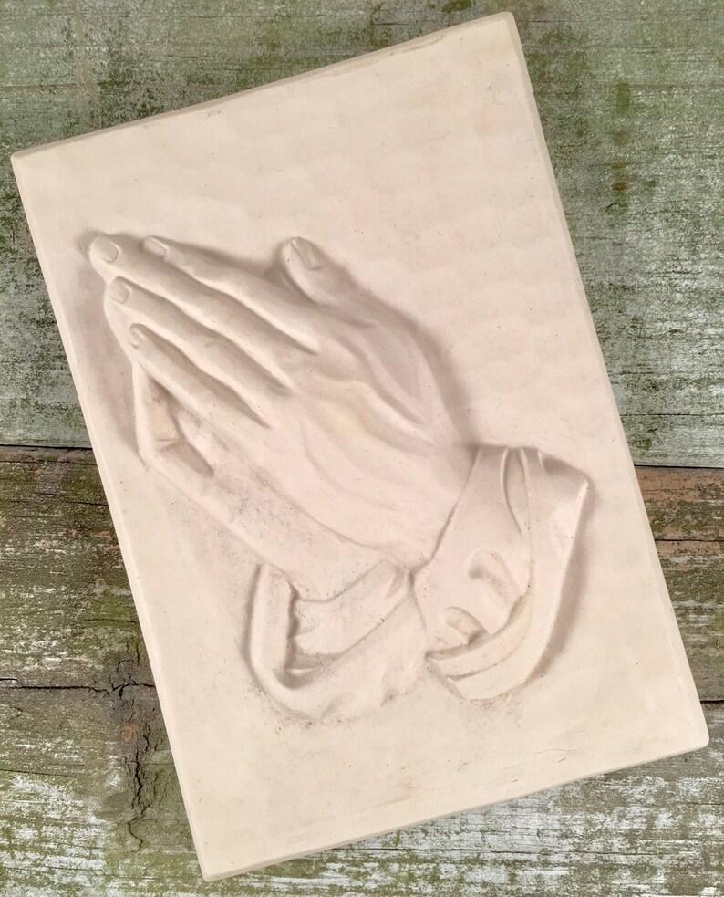 Vintage Ceramic Plaster Praying Hands Wall Plaque | Albrecht Durer |  Holland Mold | Religious Decor