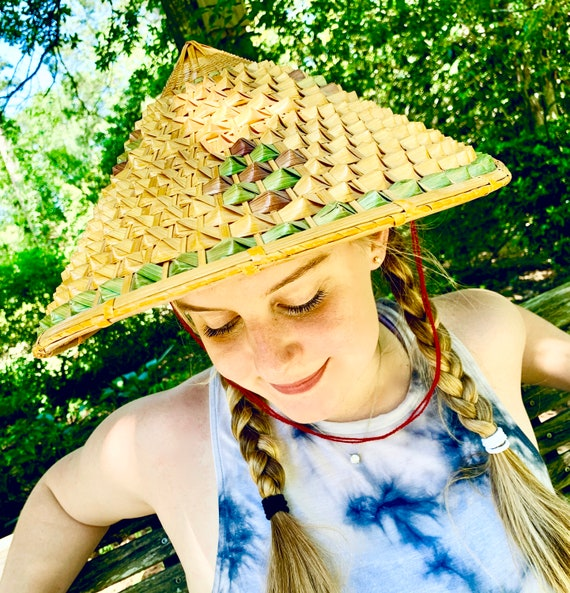 Vintage Woven Handmade Chinese Coolie Conical Hat