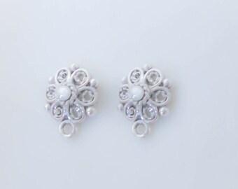 Sterling Silver Filigree Round dots Post Stud Earring Findings with Loop, 1 Pair