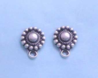 Sterling Silver Round Dots Post Stud Earring Finding with Loop, Daisy, 1 Pair