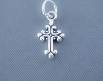 1 Sterling Silver Small Fancy Ornate Cross Charm, Mini