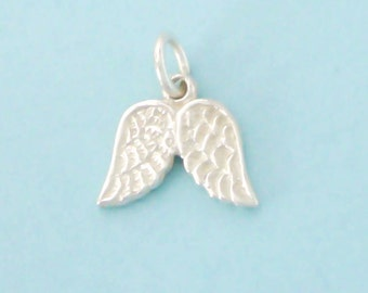 1 Sterling Silver Angel Wings Charm, Double Sided