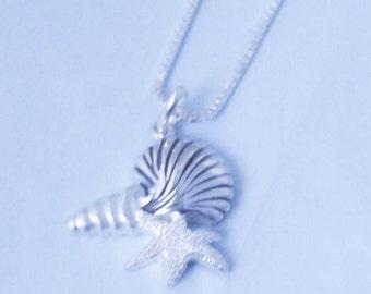 1 Sterling Silver Sea shells Starfish Necklace, Ocean Trio