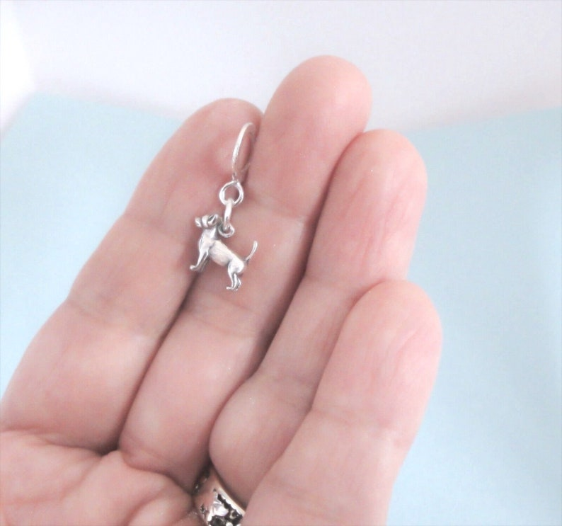 Made in USA 1 Sterling Silver Small Tiny Chihuahua Dog Charm 3D on Thin European Dangle Bead Large Hole Bail