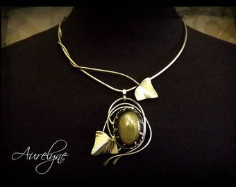"""Stainless steel necklace """"Story of them: the Mysterious"""" Golden Obsidian stone and ivy leaf elvish victorian"""