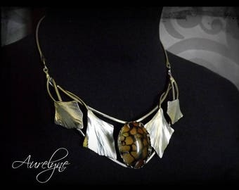 """Stainless steel necklace """"Story of them: the Vamp"""" Orange Agate stone and ivy leaf elvish victorian"""