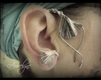 """Ear hook stainless Conte """"The Princess of Babylon"""" palm leaves and interlacing dreamlike plant Elven"""