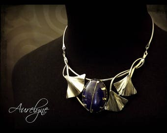 """Stainless steel necklace """"Story of them: the Pedant"""" Lapis Lazuli stone and palm leaf elvish victorian"""