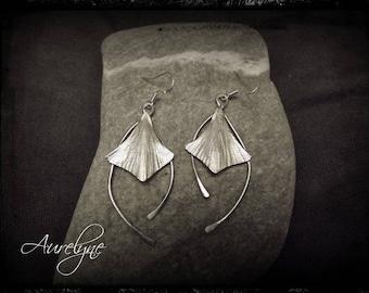 "Stainless steel earrings Cnte ""The Butterfly"" volubilis leaf elvish fairy dreamlike spirit"