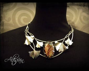 """Stainless steel necklace """"Story of them: the Insatiable"""" Labradorite stone and ginkgo biloba leaf elvish victorian"""