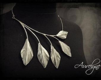 Necklace stainless steel  Legend 5 Ashen leaves Fairy Elvish Vegetable Dream Baroque