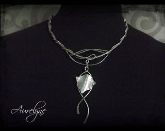 Stainless steel necklace Chrysalis and Acanthus leaf, elvish and dreamlike tracery