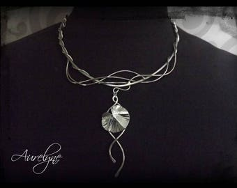 Stainless steel necklace Chrysalis Lotus leaf and elvish tracery fairy