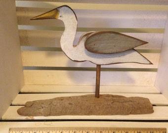 Primitive Egret on Drift Wood Base