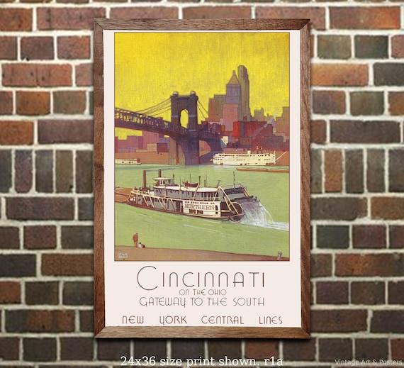 Vintage Railroad Travel Art Print NYC Empire Express A4 Mini Print