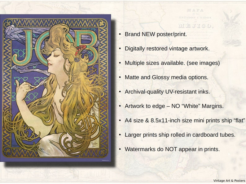 Vintage Art Nouveau Print Poster Alphonse Mucha Job Cigarette Papers (1896)  - Home Decor Wall Art (151)