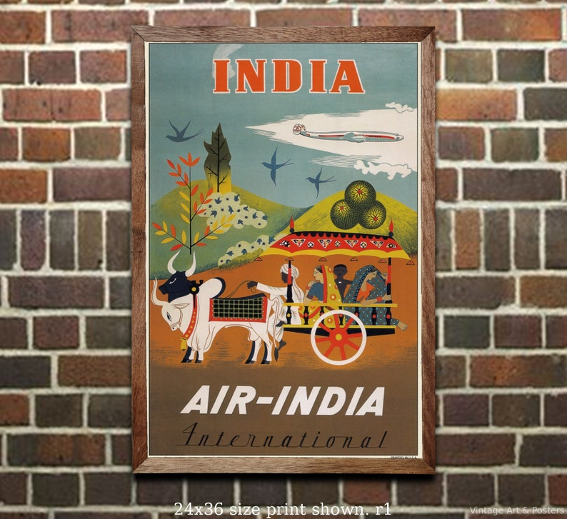 TWA Visit India Vintage Airline Travel Art Print 11x17 inches