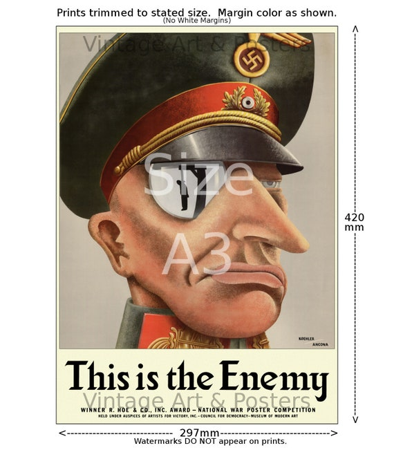 US WW II Propaganda Poster This is the Enemy #1 6 sizes, matte+glossy avail