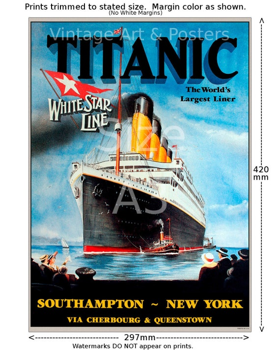 "Titanic White Star Line #2-11/""x17/"" inch Vintage Sailing Notice Travel Poster"