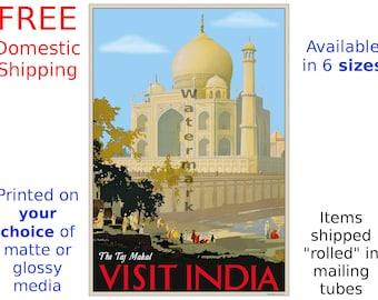 India Travel Poster - The Taj Mahal - Visit India - Vintage Travel Art Print - Home Decor (408)