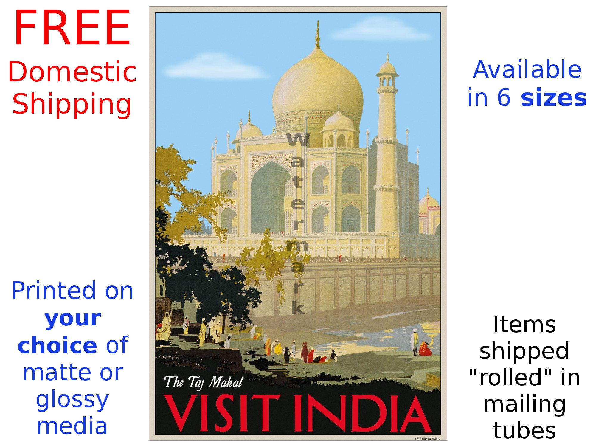 India Travel Poster The Taj Mahal Visit India Vintage