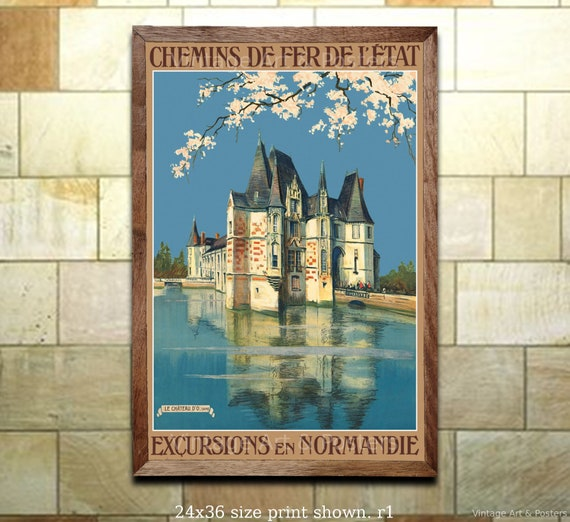 Excursions en Normandie Normandy France French Vintage Travel Poster Print